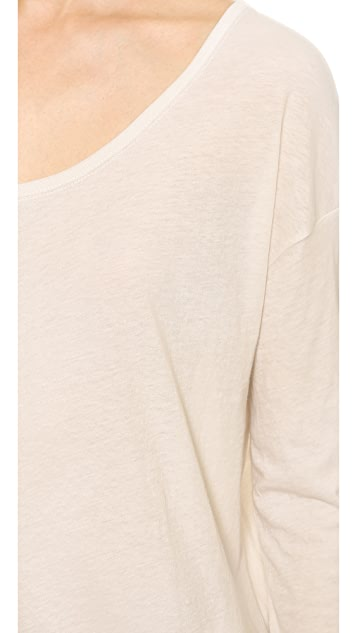 T by Alexander Wang Lightweight Low Neck Long Sleeve Tee
