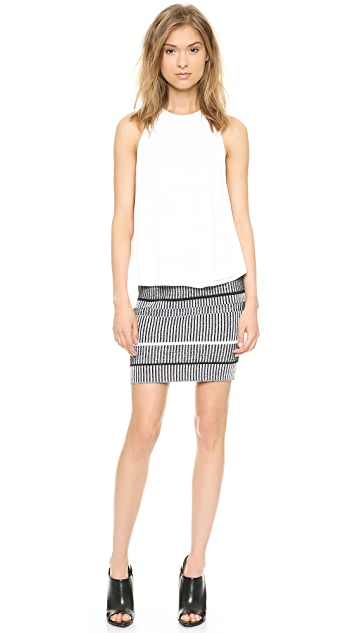 T by Alexander Wang Raw Edge Flow Top with Leather Trim