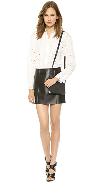 T by Alexander Wang Raw Edge Leather Miniskirt