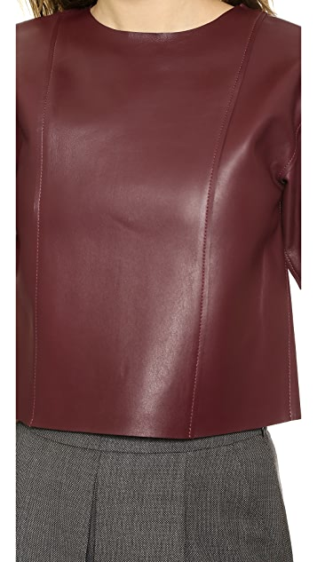 T by Alexander Wang Raw Edge Leather Crop Top