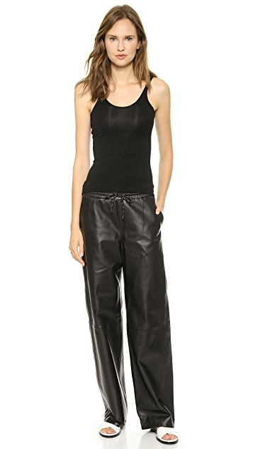 T by Alexander Wang Leather Palazzo Track Pants