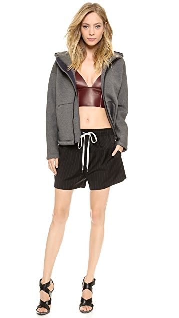 T by Alexander Wang Nappa Raw Edge Triangle Bralette