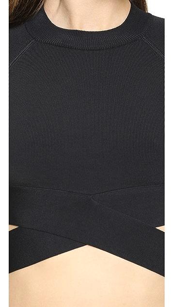 T by Alexander Wang Stretch Rayon Crisscross Short Sleeve Top