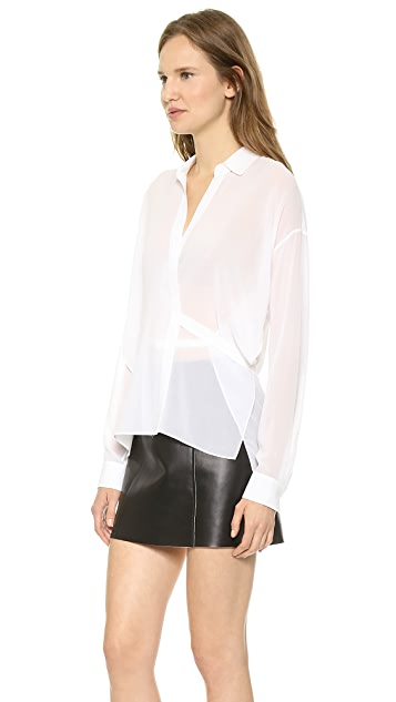 T by Alexander Wang Silk Wrap Blouse