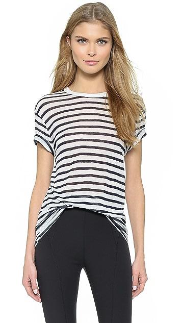 alexanderwang.t Stripe Rayon Linen Short Sleeve Tee
