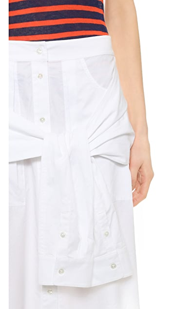 T by Alexander Wang Poplin Sleeve Tied Shirtail Skirt