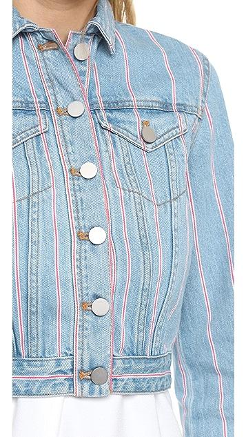 T by Alexander Wang Shrunken Jean Jacket in Selvedge Stripe