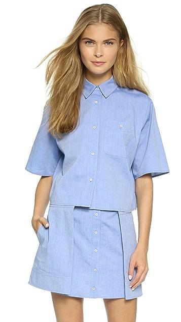 T by Alexander Wang Cotton Oxford Cropped Boxy Shirt