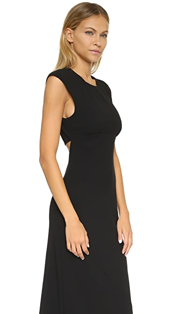 T by Alexander Wang Matte Crepe Exposed Back Gown