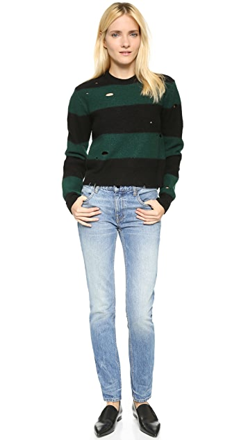 T by Alexander Wang Dropped Needle Boiled Wool Pullover