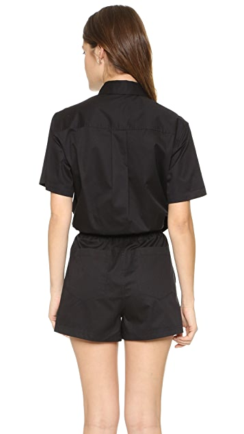 T by Alexander Wang Tie Front Shorts Romper