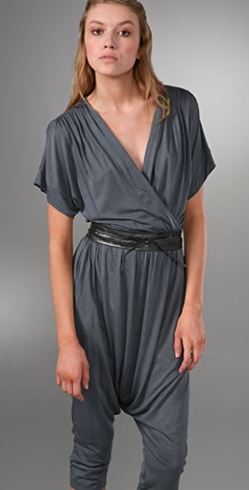 Twelfth St. by Cynthia Vincent Wrap Jersey Jumpsuit with Belt