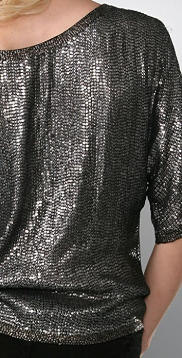 Twelfth St. by Cynthia Vincent Short Sleeve Sequin Blouse