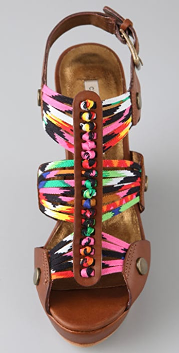 Twelfth St. by Cynthia Vincent Roma Wedge Sandals with Knotted Straps