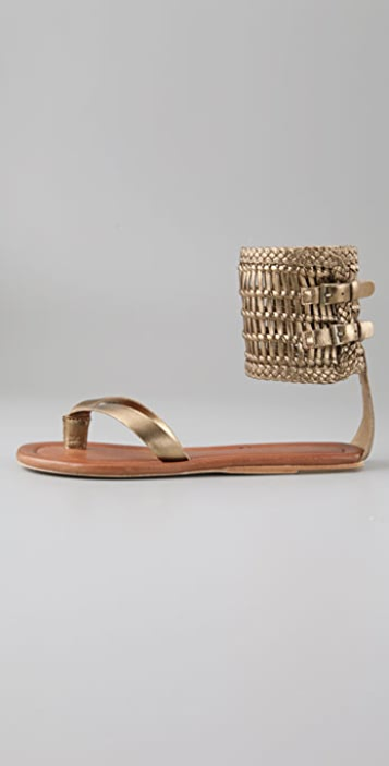 Twelfth St. by Cynthia Vincent Tilla Flat Thong Sandals with Woven Cuff