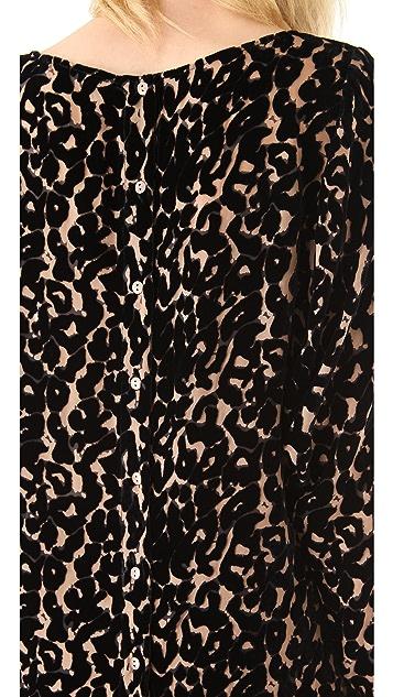 Twelfth St. by Cynthia Vincent Burnout Velvet Leopard Blouse