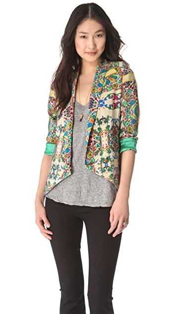 Twelfth St. by Cynthia Vincent Shawl Printed Blazer
