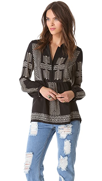 Twelfth St. by Cynthia Vincent Bell Sleeve Blouse
