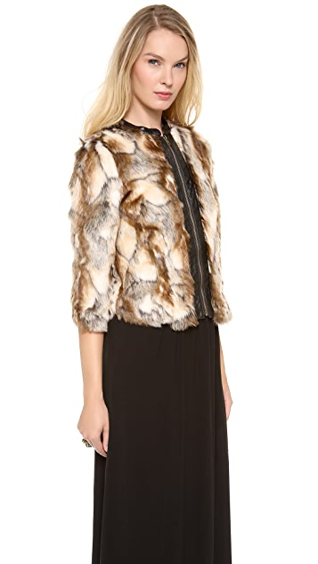 Twelfth St. by Cynthia Vincent Leather Placket Faux Fur Jacket