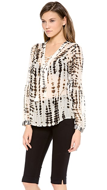 Twelfth St. by Cynthia Vincent Lace Up Blouse