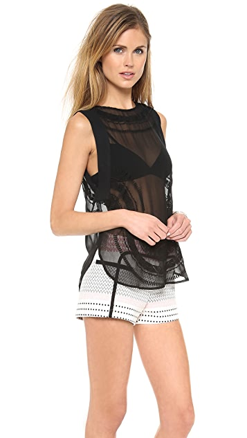 Twelfth St. by Cynthia Vincent Sleeveless Sheer Panel Top