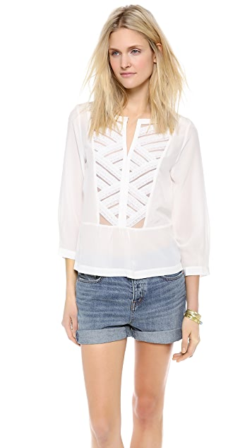 Twelfth St. by Cynthia Vincent Lace Bib Blouse
