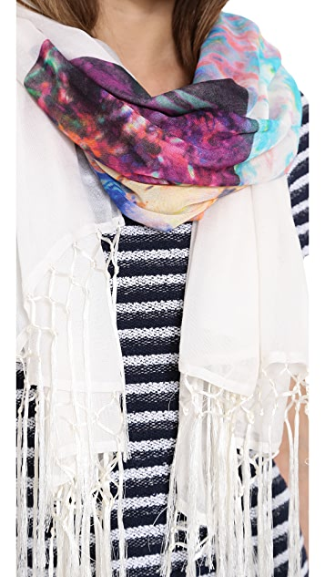 Twelfth St. by Cynthia Vincent Snow Tiger Scarf With Tassels