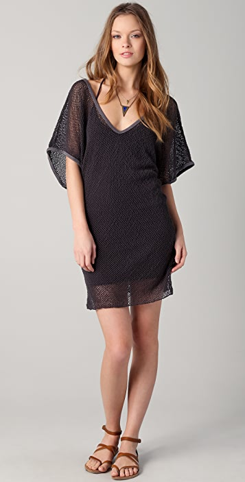 291 Mesh V Neck Tunic Dress