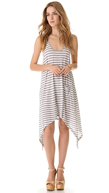 291 Stripe Curved Hem Dress