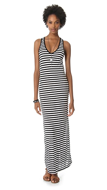 291 Stripe Racer Back Maxi Dress