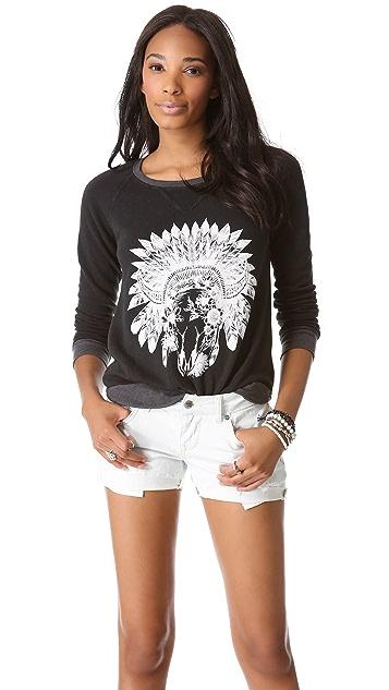 291 Floral Skull Pullover
