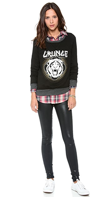 291 Grunge Lion Long Sleeve Pullover