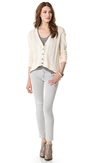 TEXTILE Elizabeth and James High Low Marled Cardigan