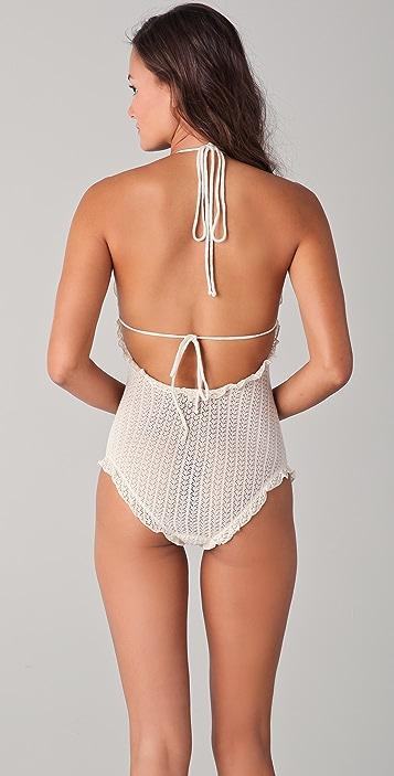 Undrest Pointelle Knit Halter Bodysuit
