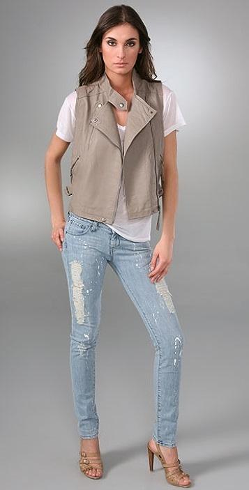 Unknown Factory Zipper Pocket Skinny Jeans
