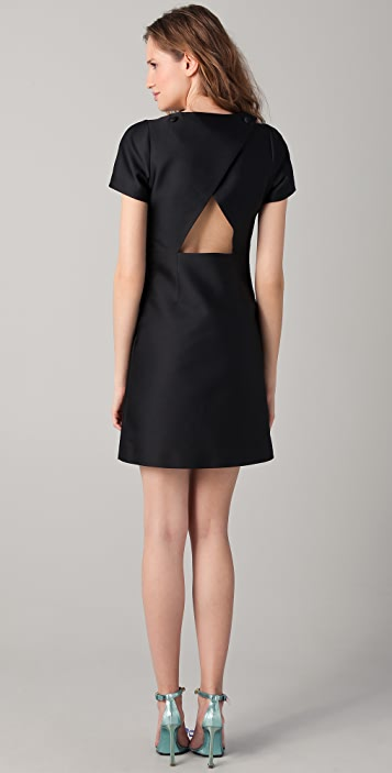 VIKTOR & ROLF Shift Dress with Mesh Swirl