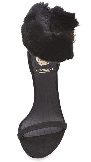 VIKTOR & ROLF Rabbit Fur Ankle Strap Sandals