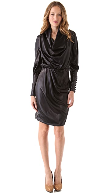 VIKTOR & ROLF Glossy Cowl Neck Dress