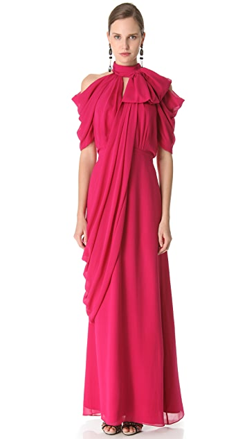 VIKTOR & ROLF Short Sleeve Georgette Gown