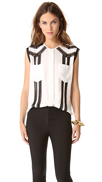 Veronica Beard Sleeveless Georgette Top