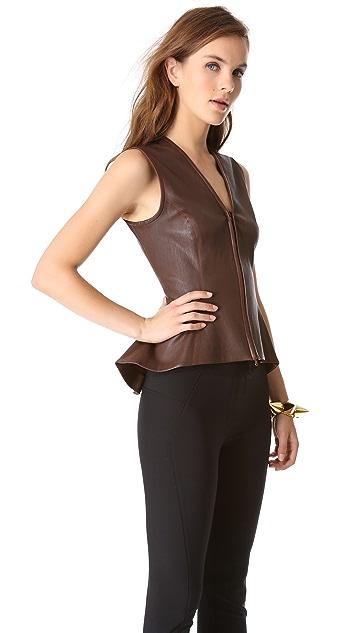 Veronica Beard Sleeveless Leather Peplum Top