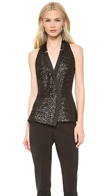 Veronica Beard The Tuxedo Peplum Top