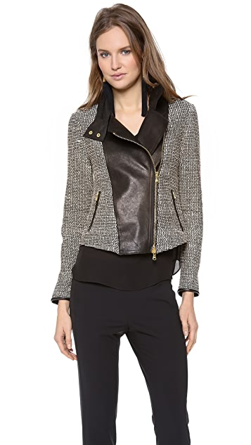 Veronica Beard The Leather Combo Jacket