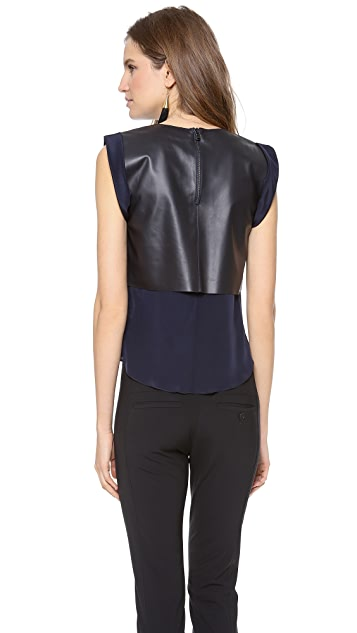 Veronica Beard The Leather Muscle Tee