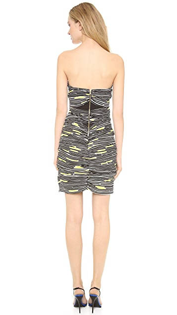 Veronica Beard Traffic Stripe Strapless Dress