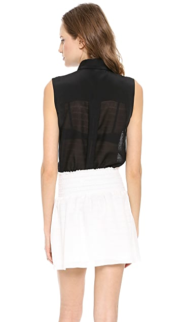 Veronica Beard Sleeveless Silk Combo Top