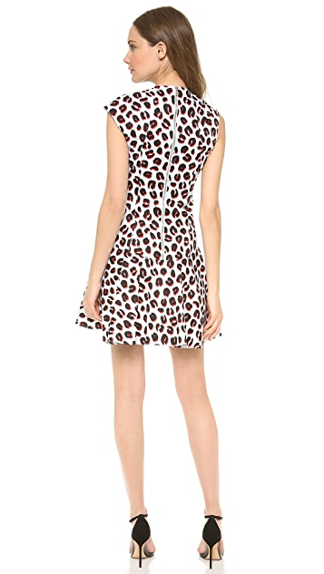 Veronica Beard 3D Leopard Flounce Dress