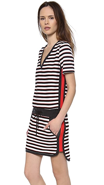 Veronica Beard Stripe Knit T-Shirt Dress