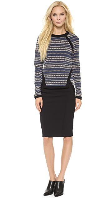Veronica Beard Scuba Zip Back Pencil Skirt
