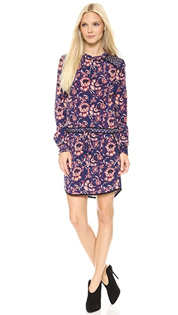 Veronica Beard Floral Batik Print Keyhole Shirtdress